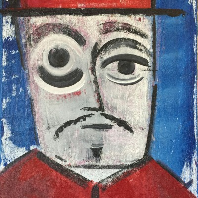 main-in-a-red-hat-acrylic-on-canvas-by-manousos